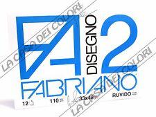 FABRIANO - DISEGNO 2 - F2 - 110 g/mq RUVIDO - 33x48cm - BLOCCO 12FG 4 ANGOLI
