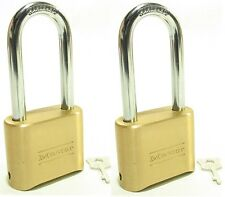Lock Brass Master Combination #175LH (Lot of 2) Long Shackle Resettable Secure