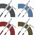Kirlin Fabric Guitar Lead Straight to Right Angle Plug Choice of Colour 10 foot