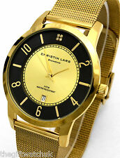 Christin Lars DIAMOND Mens 24 Carat Gold Plated Watch Black Rim Thin Mesh Strap