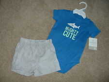 Baby Boys Carters Shark Shorts Set Outfit Size 6 Months 6M mos m Clothes NWT NEW