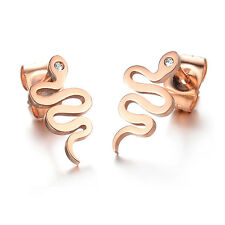 SIMPLE SMOOTH SNAKE CZ ROSE GOLD GP SURGICAL STAINLESS STEEL STUD EARRINGS