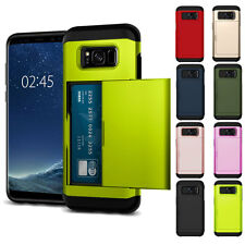 PC Shockproof Pocket Card Slots Case Cover For Samsung Galaxy S8 Plus Neon Green