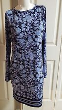 NEW MICHAEL KORS BASICS ELEGANT NEW NAVY FLORAL LONG SLEEVE STRETCH DRESS SIZE M