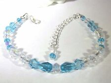 Bracelet Adorned with Sky Blue and Clear Swarovski Crystals