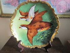 L. R. L. Limoges France Hand Painted Pair Bird Charger Plate Signed Nexon