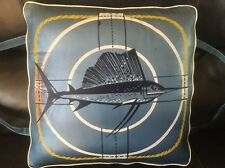 Vtg 1950's BOAT CUSHION Life Preserver Marlon Sailfish Nautical Decor Crawford