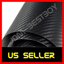 "60""x72"" BLACK CARBON FIBER Self Adhesive Vinyl Sticker Wrap Hood Roof Trunk"