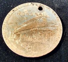 1962 Seattle World's Fair Expo Official Medal  Mass Transit High Speed Monorail