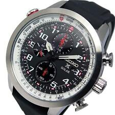 Seiko Mens Solar Pilots Chronograph Watch SSC351P1, Warranty, Box