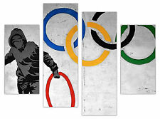 """BANKSY CANVAS PRINTS OLYMPIC RINGS WALL ART FRAMED PICTURES 4 PANEL 35"""" WIDE"""