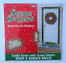 CHRISTMAS SCENE SETTER DOOR & WREATH POSTER PARTY WALL DECORATION TINSEL