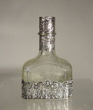 Antique 800 Silver Overlay Rococo Decanter Hallmarked European Germany Hanau