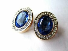 Signed Daniel Swarovski Blue Crystal rhinestone clip earrings  FREE SHIP Oval