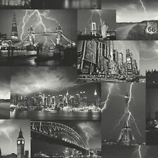 Holden Decor K2 Storm Wallpaper 98030 - London Paris New York Lightning Thunder