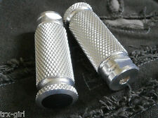 Universal knurled rearset foot pegs pair M8 x 1.25 race or track spares *SILVER*