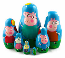 Peppa Pig Family Wooden Russian Nesting Stacking Dolls Matryoshka Kid Gifts, 7pc