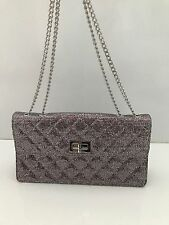 CHANEL Classic Glitter Quilted Medium Flap Bag Silver Evening  **MINT** $2100!!
