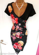 Sexy Black Oriental Floral Mini Bodycon Faux Wrap Party Dress Size 8 BNWT