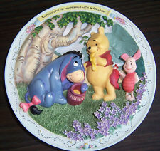RARE 1996 Winne the Pooh 3D plate NOBODY CAN BE UNCHEERED w/a BALLOON friends  B