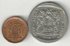 2 DIFFERENT COINS from SOUTH AFRICA - 1 CENT & 5 RAND (BOTH DATING 1990)