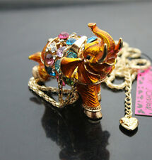 A650Y   New Betsey Johnson Crystal Enamel  Elephant Pendant Necklaces