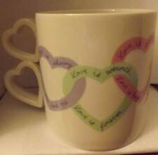 Avon Love is Valentines Day Heart Love Sayings Coffee Mug Heart Shaped Handle