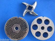 "3-pc #22 Meat Grinder plate disc knife 1/8"" & 5/8"" SET Hobart LEM Cabelas etc"