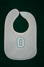 """Ohio State University""Pink Plastic Backed Bib w/Pink&Gray""O"" MachineEmbroidered"