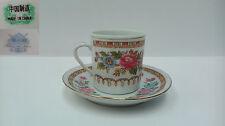 Taza y platillo de porcelana china para cafe/te. Oriental.