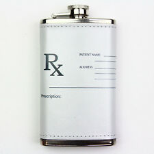 Leather Wrapped 6oz Stainless Steel Flask FSK1126 Prescription Rx Nurse Doctor