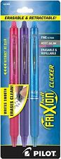 3 Pack - PILOT FRIXION Retractable Gel Pens - Erasable - Assorted Ink - FINE