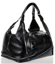 Piquadro Black Italian Leather Carry On Convertible Travel Duffel Bag / Backpack