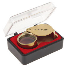 21mm Optical Glass Lens 30X Magnifying Magnifier Jeweler's Loupe Golden Color