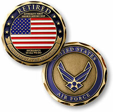 U.S. Air Force Retired / Flag - USAF Brass Challenge Coin