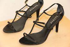 NIB Ralph Lauren AIDA Stones Black Heels Satin Sandals Shoes Sz 10 B