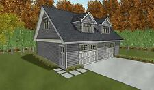 Double Car / 2 Car Garage Architectural Plans / Blueprints - 28 X 32 With Loft