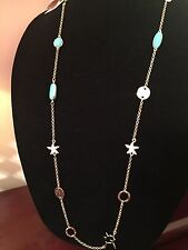 NWT Lilly Pulitzer Necklace Station Starfish Turquoise Coral Pineapple Clasp