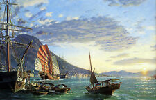 John Stobart Print - Hong Kong: A View of the Harbor at Sunset in 1870