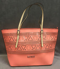 NEW GUESS CORAL DELANEY LASER CUT SMALL CLASSIC TOTE BAG HANDBAG PURSE