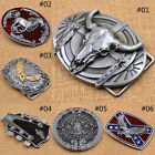 Men's Metal Belt Buckle Western Cowboy Bull Horse Eagle Engraved Buckles Vintage