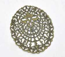 30 Bronze Tone Filigree Oval Wraps Connector Embellishments Findings 61x48mm