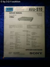 Sony Service Manual AVD S10 Super Audio CD/DVD Player (#6388)