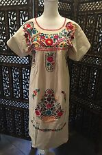 Otomi Mexican DRESS Hand Embroidered Huipil Women's Floral Tunic Ethnic Dress