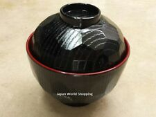 Soup Rice Bowl with Lid Lacquer Ware Black Red Tortoise Shell design Made Japan