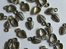 15 Small Leaf Silver Metal Jewellery Charms 10x6mm