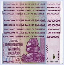 Zimbabwe 500 Million Dollars x 10 notes AA/AB serial 2008 P82 UNC currency bills