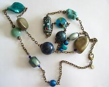 CHICO'S Chunky Turquoise & Art Glass Necklace
