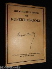 The Complete Poems of Rupert Brooke - 1933 - Vintage Poetry inc 'The Soldier'