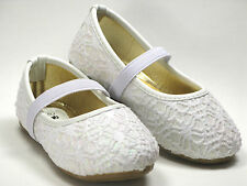 New Adorable Toddler Girls Classic Slip-On Glittery Lace Crochet Dress Shoes